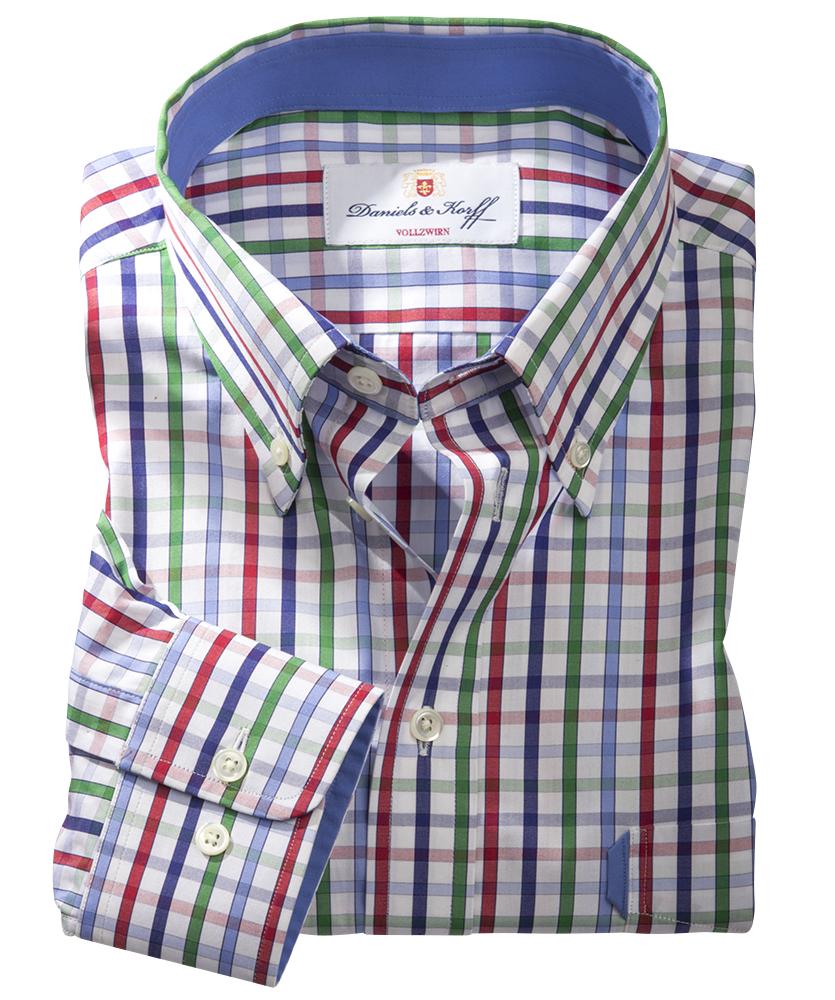 Vollzwirn hemd mehrfarbig kariert im daniels korff shop - Vollzwirn hemd ...