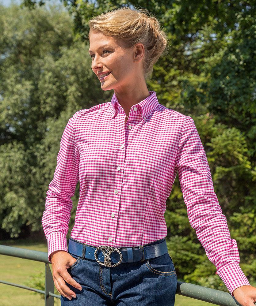 1c4633981436d Oxford-Bluse pink kariert im Daniels & Korff Shop