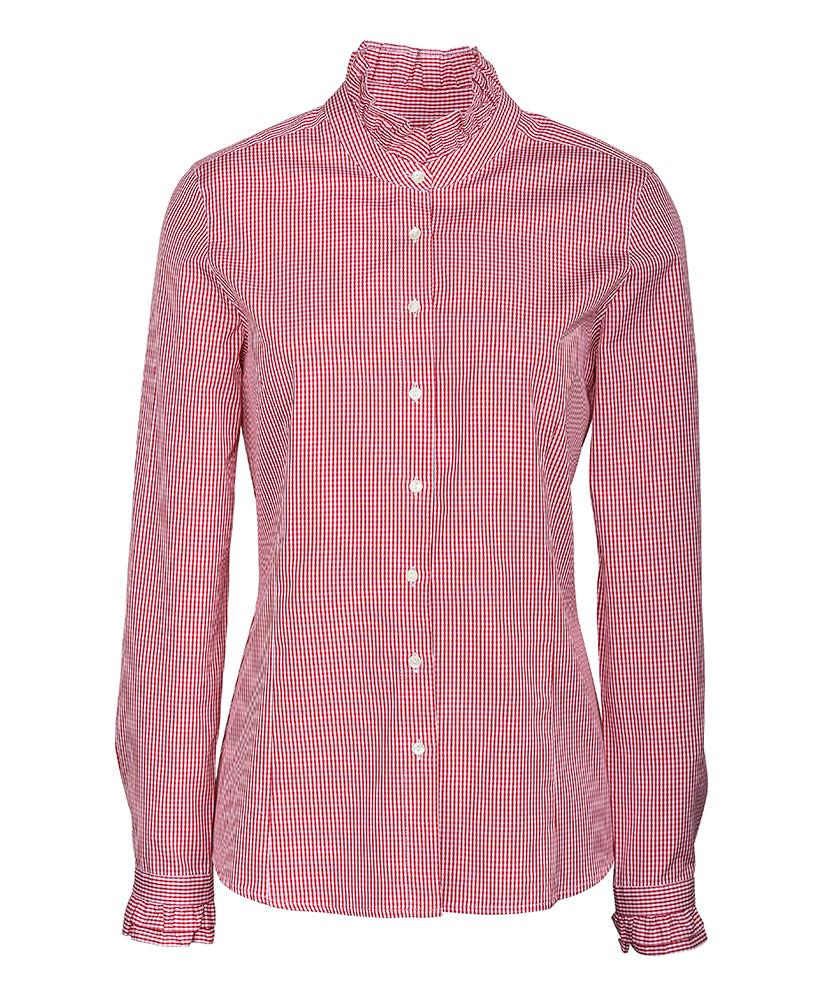 4c7537cb48b574 Vollzwirn-Stehkragen Bluse mit Rüschen rot uni im Daniels & Korff Shop