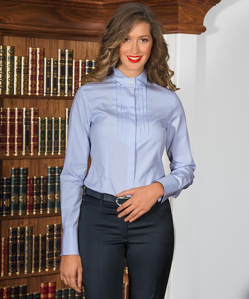 bluse mit vaterm rder kragen blau uni im daniels korff shop. Black Bedroom Furniture Sets. Home Design Ideas