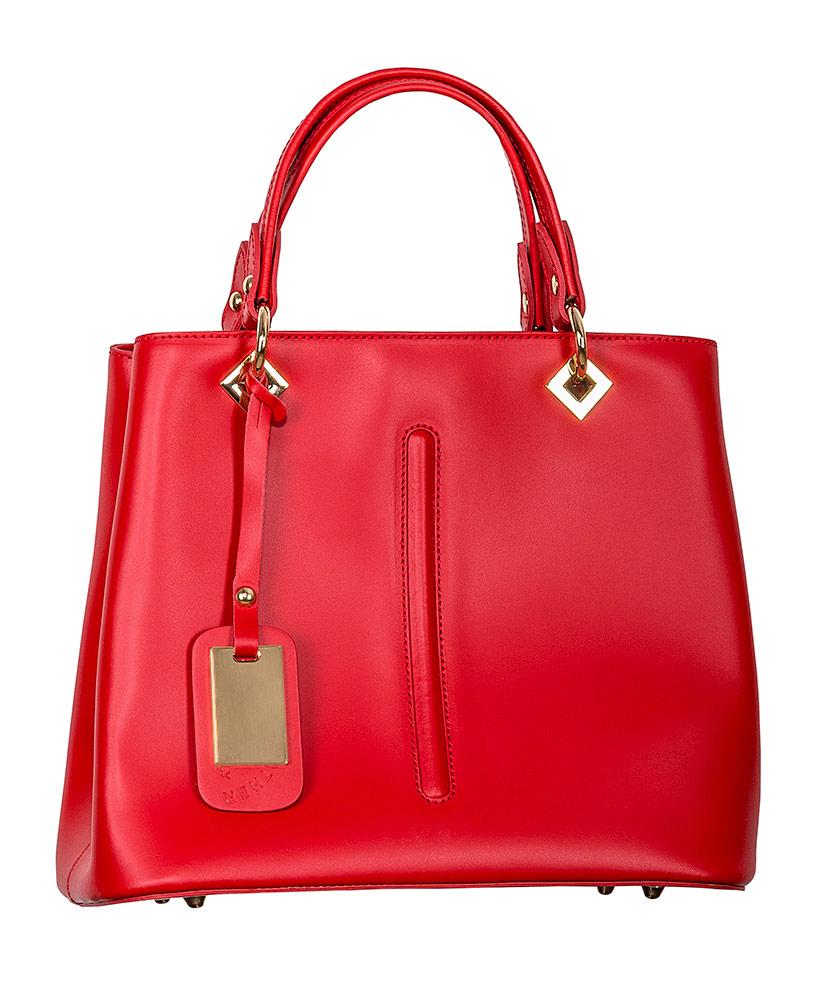 5346b013914d6d Leder-Handtasche rot uni im Daniels & Korff Shop