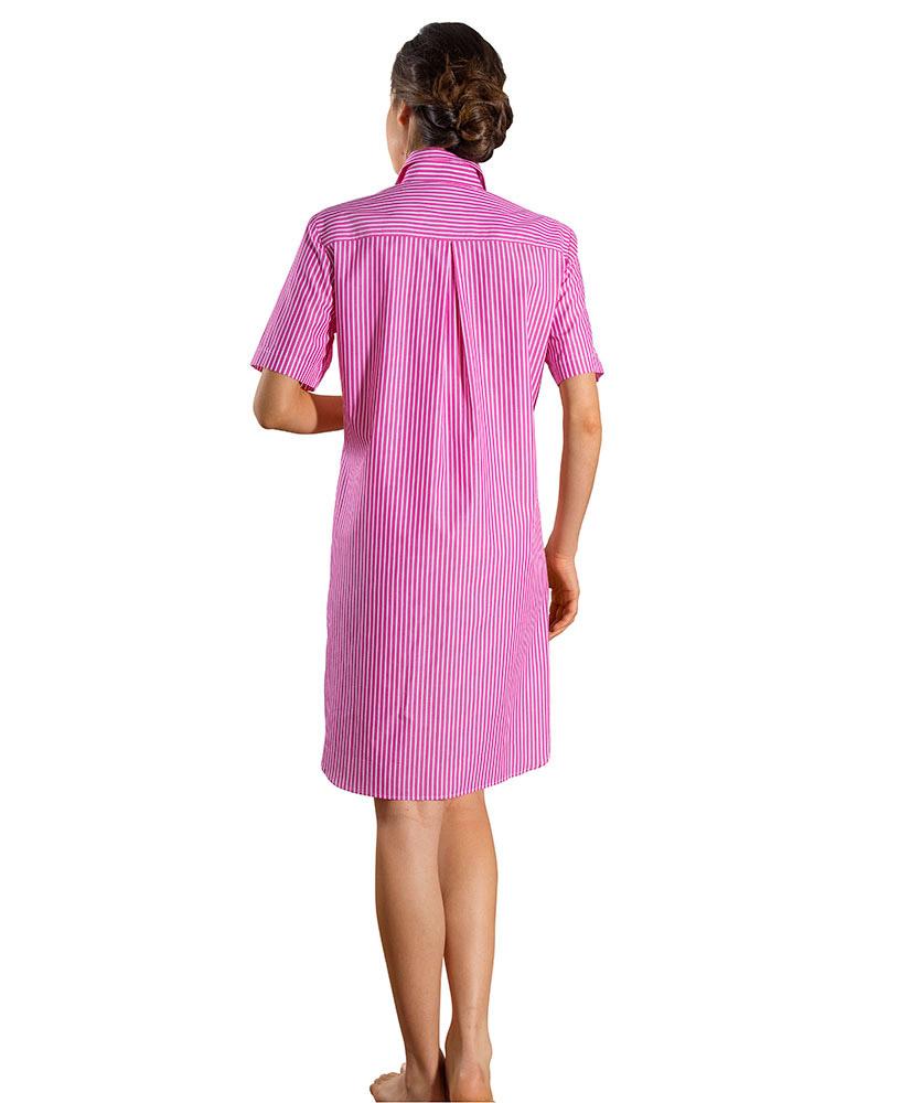 kurzarm nachthemd mit besatz pink gestreift im daniels. Black Bedroom Furniture Sets. Home Design Ideas