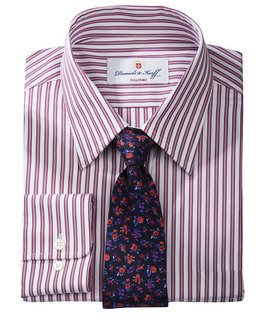 Vollzwirn hemd slimline rot gestreift im daniels korff shop - Vollzwirn hemd ...