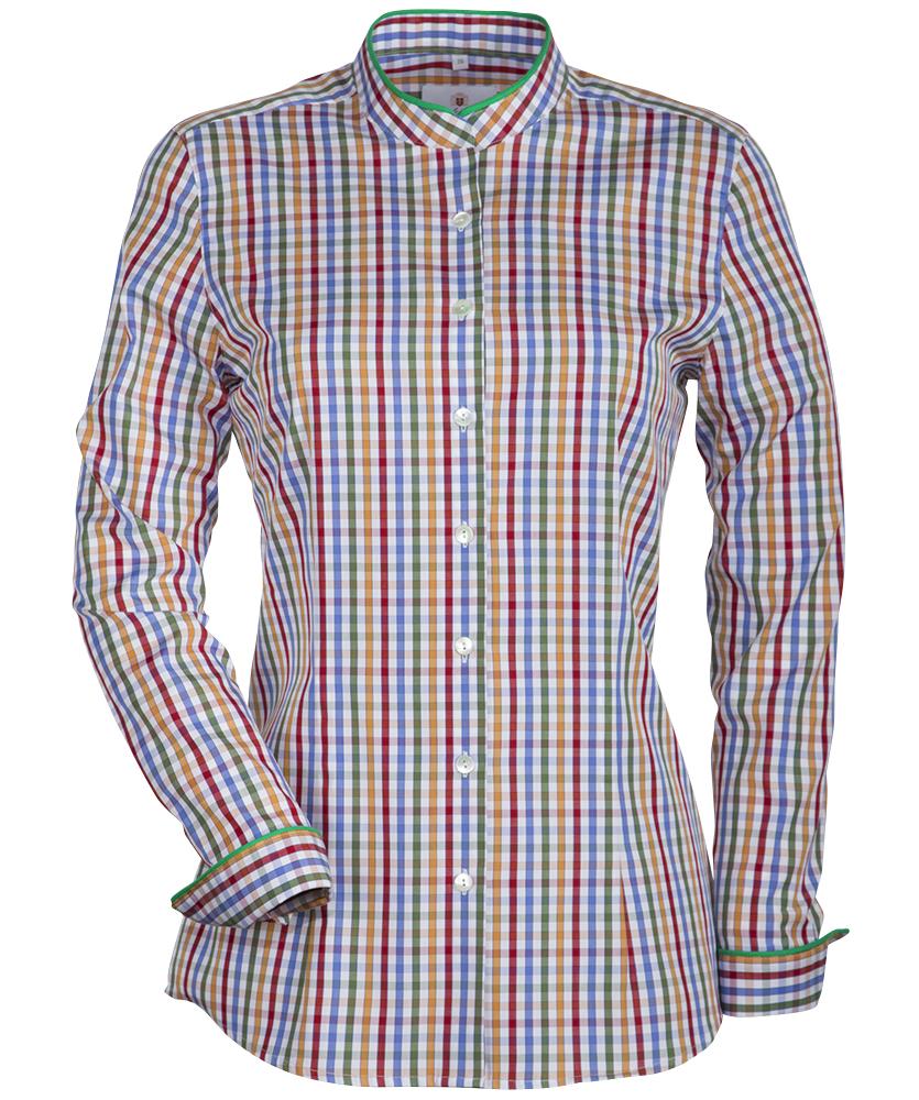 2e7543f1102f7 Vollzwirn-Stehkragen-Bluse mehrfarbig kariert im Daniels & Korff Shop