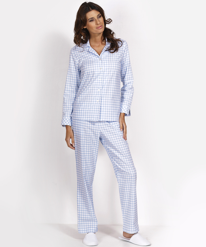 damen flanell pyjama blau kariert im daniels korff shop. Black Bedroom Furniture Sets. Home Design Ideas