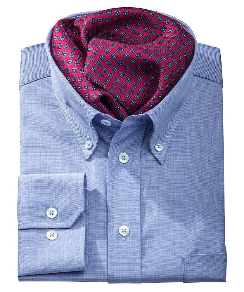 Vollzwirn hemd blau uni im daniels korff shop - Vollzwirn hemd ...
