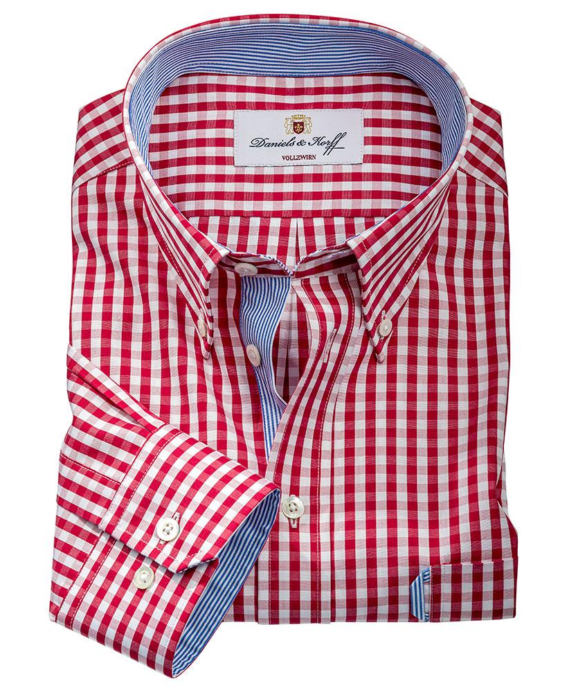 Vollzwirn hemd rot kariert im daniels korff shop - Vollzwirn hemd ...