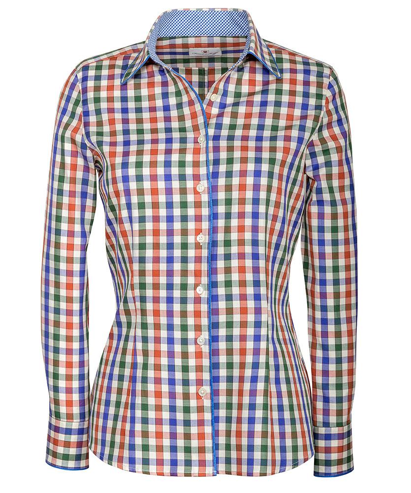 bluse mit paspel und besatz mehrfarbig kariert im daniels korff shop. Black Bedroom Furniture Sets. Home Design Ideas