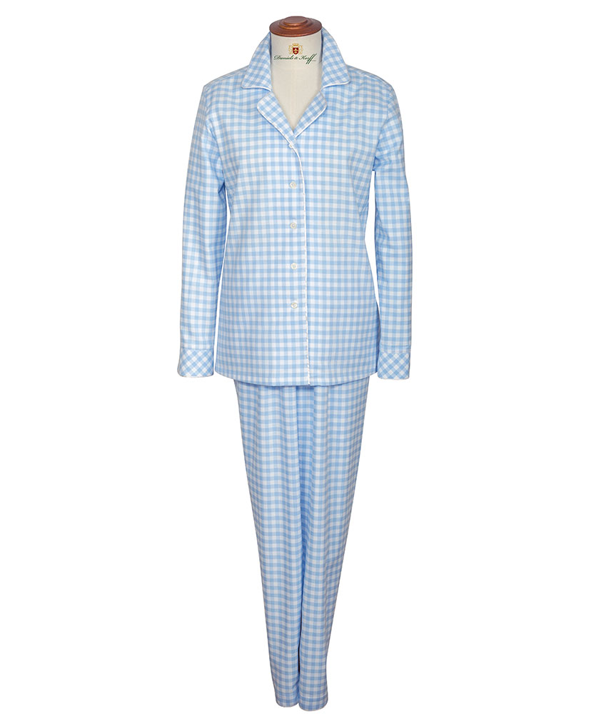 damen flanell pyjama blau kariert im daniels korff shop. Black Bedroom Furniture Sets. Home Design Ideas