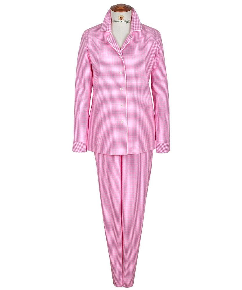 damen flanell pyjama ros kariert im daniels korff shop. Black Bedroom Furniture Sets. Home Design Ideas