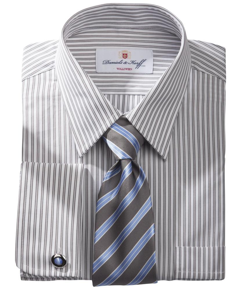 Vollzwirn hemd 100 2 grau gestreift im daniels korff shop - Vollzwirn hemd ...