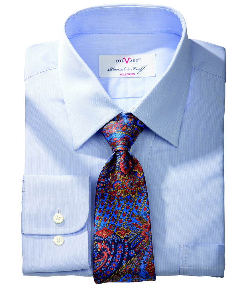 Colvaro vollzwirn hemd blau uni im daniels korff shop - Vollzwirn hemd ...