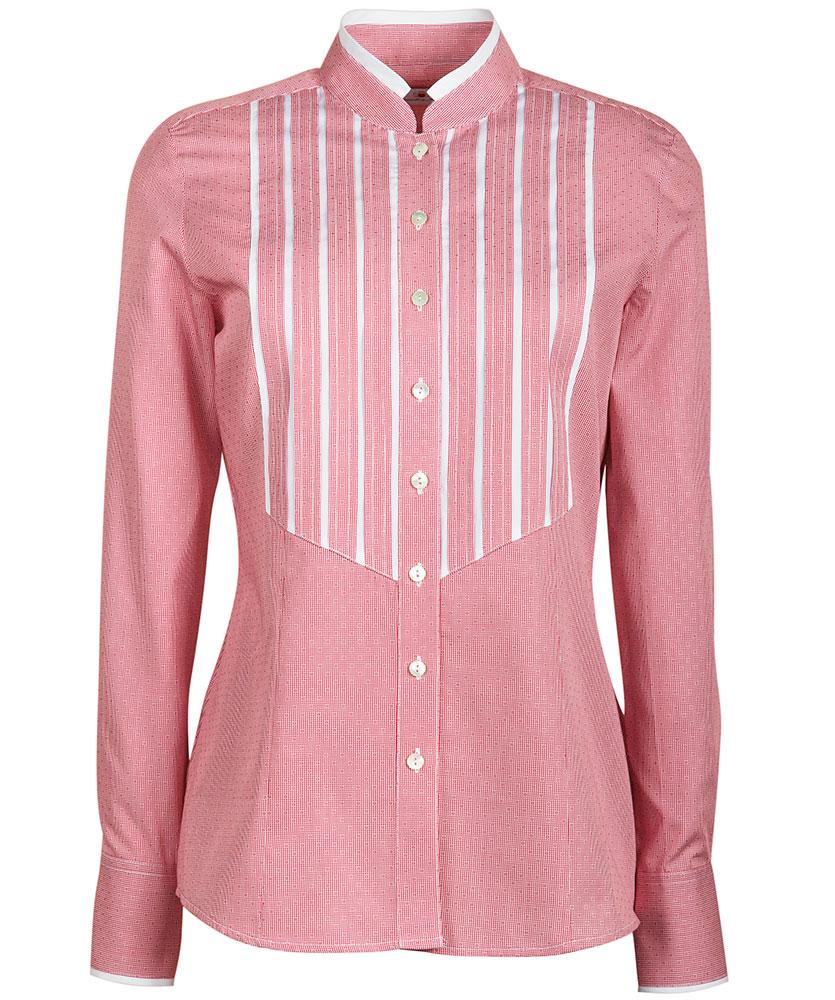 4aa485d3520597 Bluse mit eingesetzten Biesen rot uni im Daniels & Korff Shop