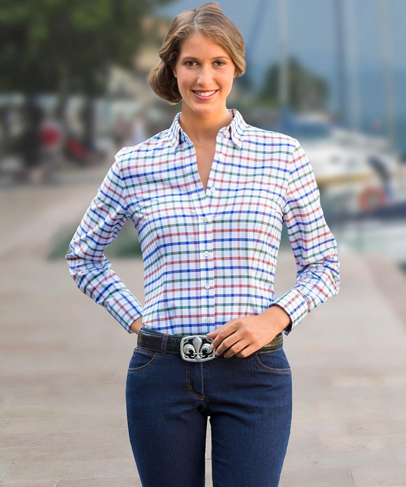 e9c0283cd0d8e Oxford-Bluse mehrfarbig kariert im Daniels & Korff Shop