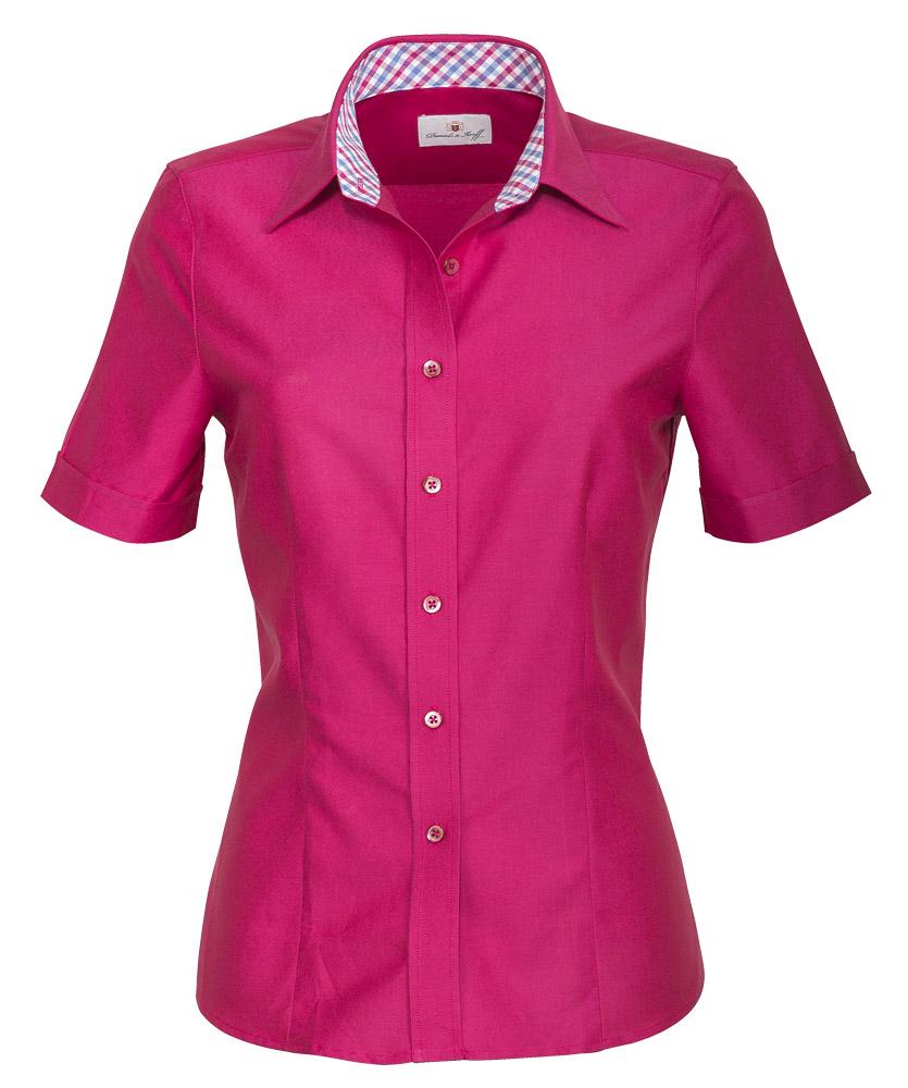 29a7ccbabdf1c Halbarm-Oxford-Bluse pink uni im Daniels & Korff Shop