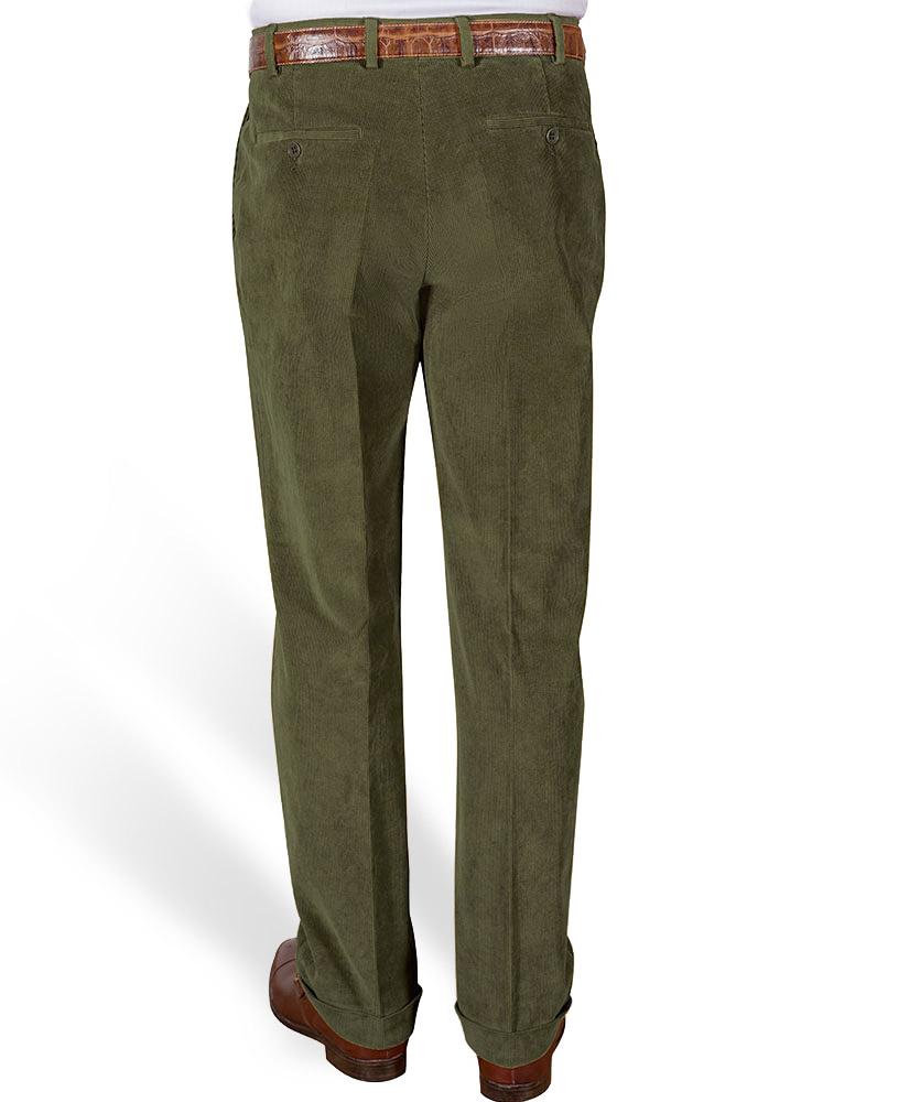 af12ae27502d Cordhose mit Bundfalten   Umschlag grün uni im Daniels   Korff Shop