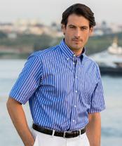 Vollzwirn halbarm hemd blau gestreift im daniels korff shop - Vollzwirn hemd ...
